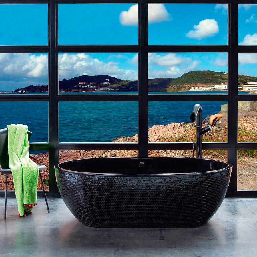 В стильной ванной комнате, есть черный пронизывающий взглядом камень, в декоре чаши [Дизайн: PSCBath]