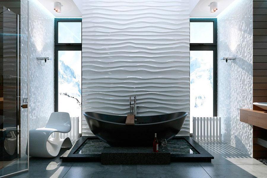 черная ванна в кристальном интерьере