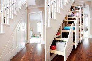 дизайнерское решение - увеличение пространства используя место под лестницей