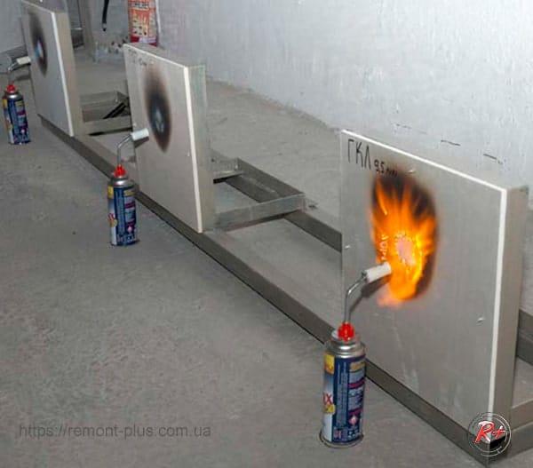 испытание на возгорание и жаростойкость гипсостружечной плиты в сравнении с гипсокартоном