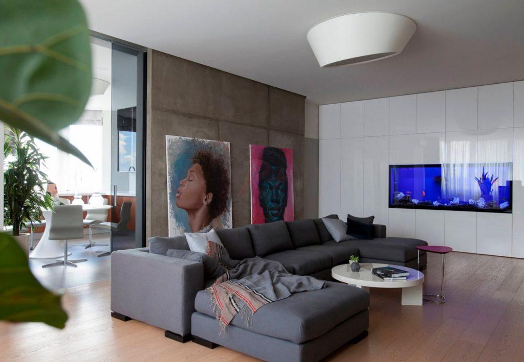 Фото №1 кухня-гостиная. Автор проекта: Валерия Завгороднева, дизайн-студия Futurum-Fractal