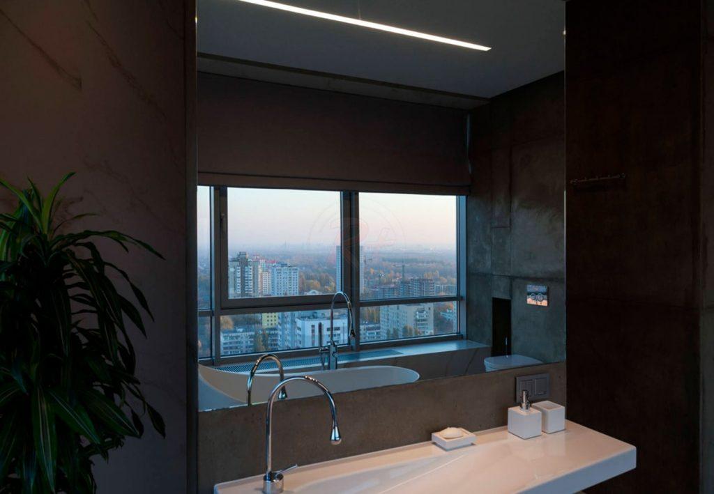 Фото №2 ванной комнаты вечером. Автор проекта: Валерия Завгороднева, дизайн-студия Futurum-Fractal